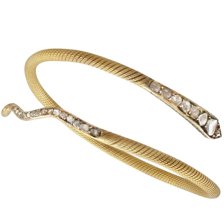 1860s Antique Egyptian 2.05 Carat Diamond & Ruby Yellow Gold Snake Bangle