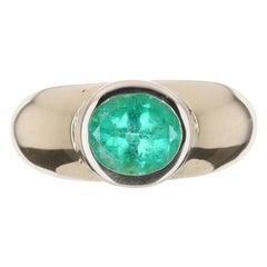 2.05tcw 18K Colombian Emerald Oval Cut Solitaire Gypsy Bezel Set Ring