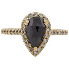 2.06 Carat Black and White Diamond Pear Shape Halo Ring 14 Karat in Stock