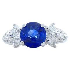 2.06 Carat Blue Sapphire and Trillion Diamond Cocktail Ring in 18 Karat Gold