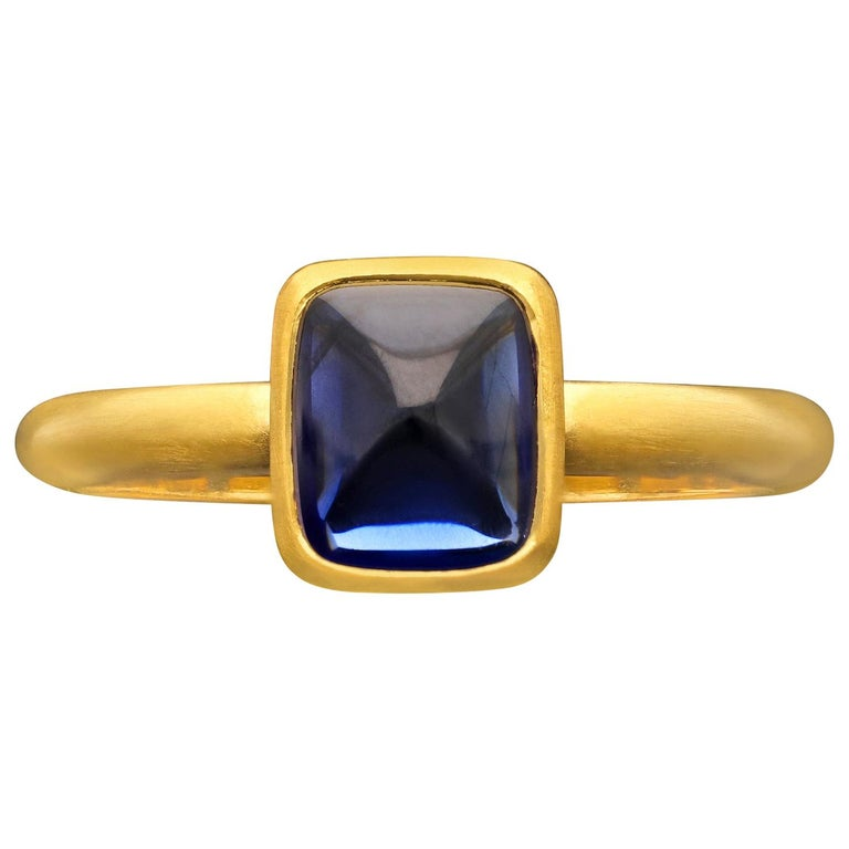 2.06 Carat Burmese Unheated Sugarloaf Cabochon Sapphire 22 Karat Ring, Hancocks For Sale