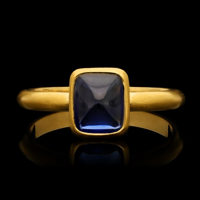 2.06 Carat Burmese Unheated Sugarloaf Cabochon Sapphire 22 Karat Ring, Hancocks In New Condition For Sale In London, GB