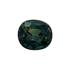2.06 Carat Cushion Shaped Teal, Green Unheated Natural Sapphire GIA Certified