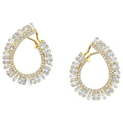 3.12 ct. t.w. Baguette & Round Diamond 18k Yellow Gold French Clip Hoop Earrings