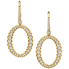 """2.06 Carat Diamond and 18k Yellow Gold """"O"""" Lever Back Earrings"""