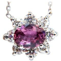 2.06 Carat Natural Purple Pink Sapphire Cluster Diamond Necklace 14 Karat