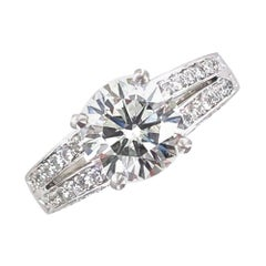 2.06 Carat Round Brilliant Cut Diamond Platinum Engagement Ring GIA Certified