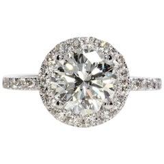 2.06 Carat Round Cut Diamond Engagement Ring on 14 Karat White Gold
