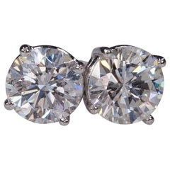 2.06 Carat Round Diamond Stud Four Prong Earrings in 14 Karat White Gold G-H/SI1