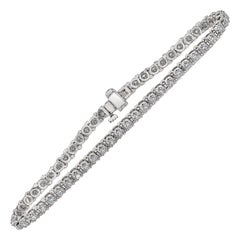 2.06 Carat Round Diamond Tennis Bracelet in 14 Karat White Gold