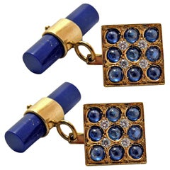 2.06 Carat Sapphire Cabochon Diamond Lapis Stick Back 18 Carat Gold Cufflinks