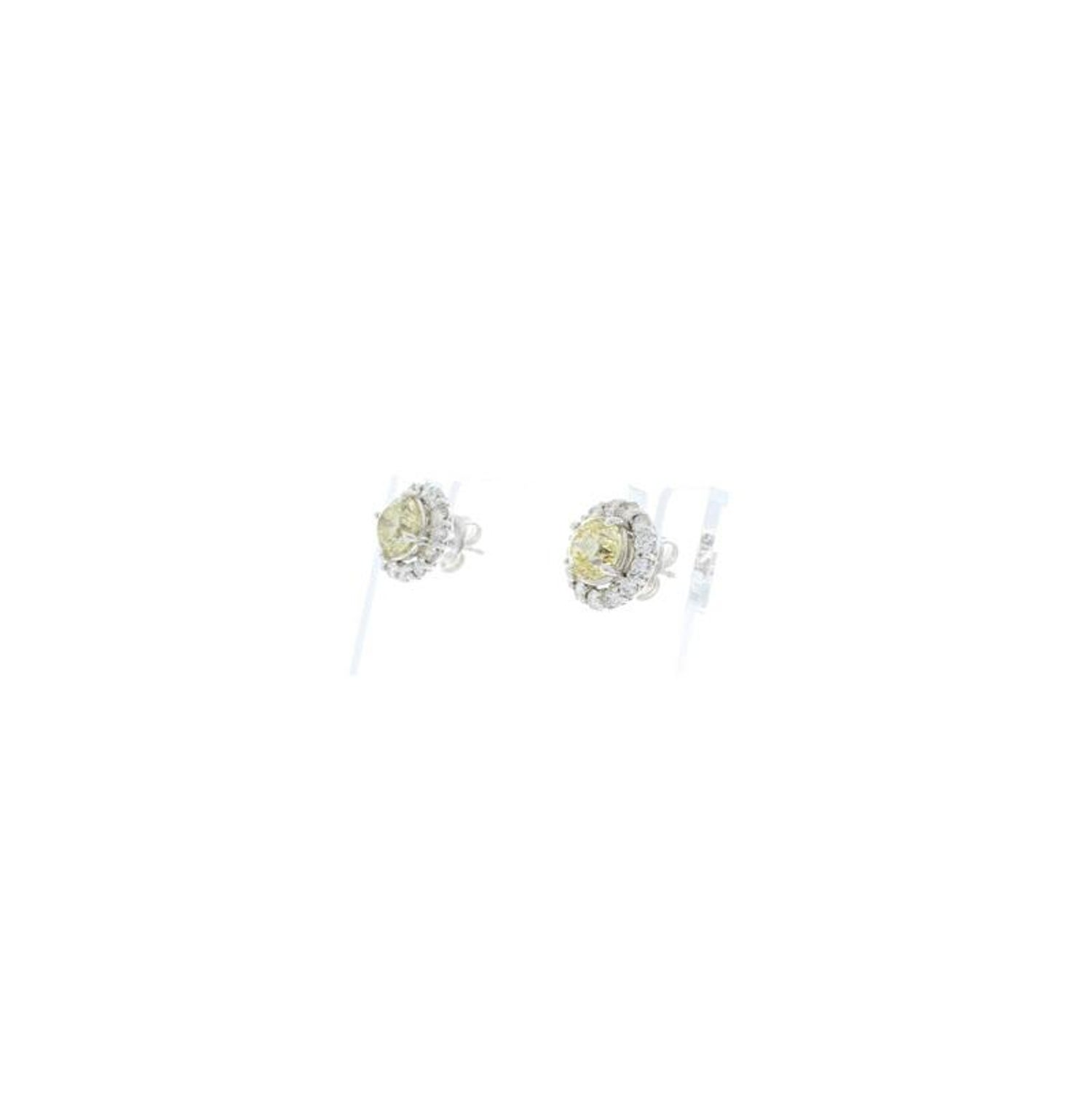 1757f7b6e3e 2.06 Carat Total Yellow Diamonds Earrings with EGL USA Certified Diamond  Halo For Sale at 1stdibs