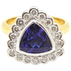 2.06 Carat Trilliant Cut Tanzanite, Diamond Ring
