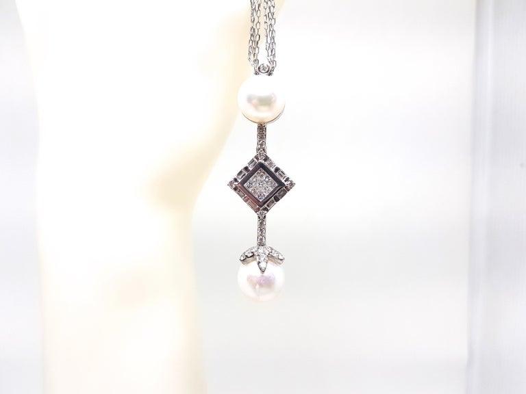 2.06 Carat White Gold Necklace Princess Diamond Pearl Pendant For Sale 4