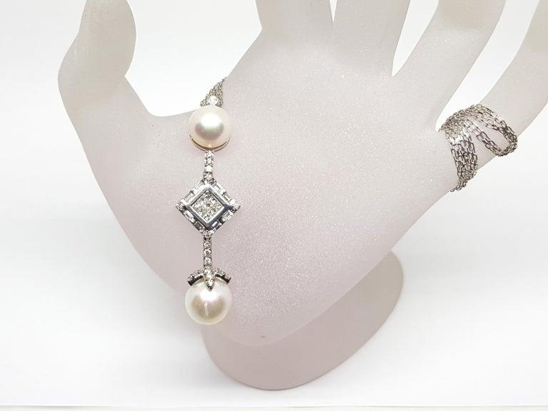 2.06 Carat White Gold Necklace Princess Diamond Pearl Pendant For Sale 5