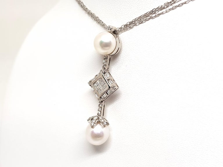 Princess Cut 2.06 Carat White Gold Necklace Princess Diamond Pearl Pendant For Sale