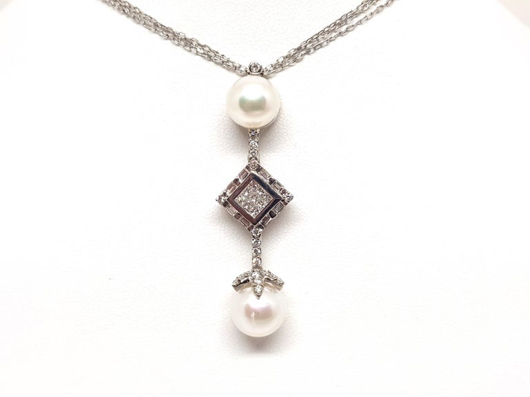 2.06 Carat White Gold Necklace Princess Diamond Pearl Pendant In New Condition For Sale In Antwerp, BE