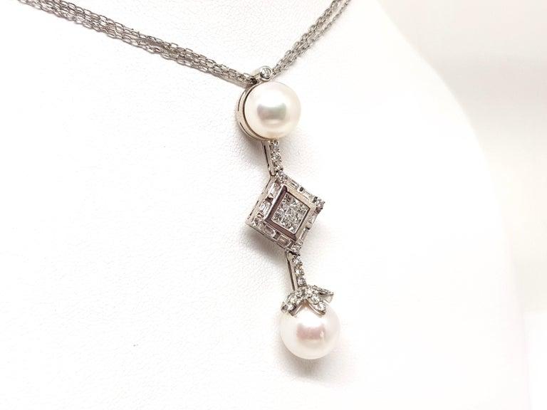 Women's 2.06 Carat White Gold Necklace Princess Diamond Pearl Pendant For Sale