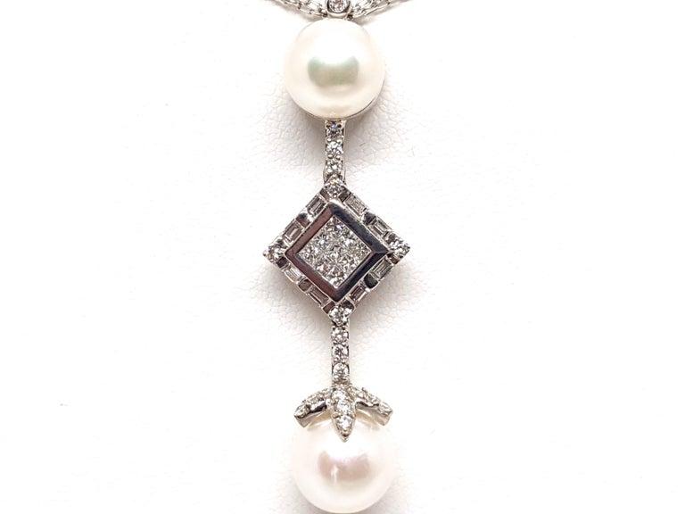 2.06 Carat White Gold Necklace Princess Diamond Pearl Pendant For Sale 1