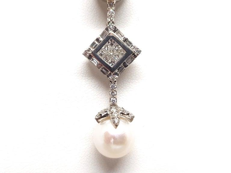 2.06 Carat White Gold Necklace Princess Diamond Pearl Pendant For Sale 3