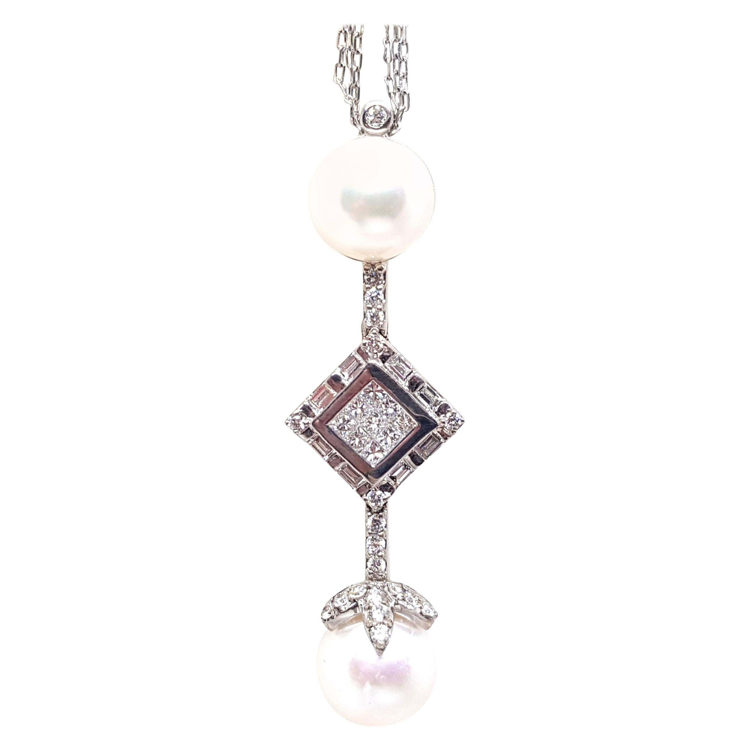 2.06 Carat White Gold Necklace Princess Diamond Pearl Pendant