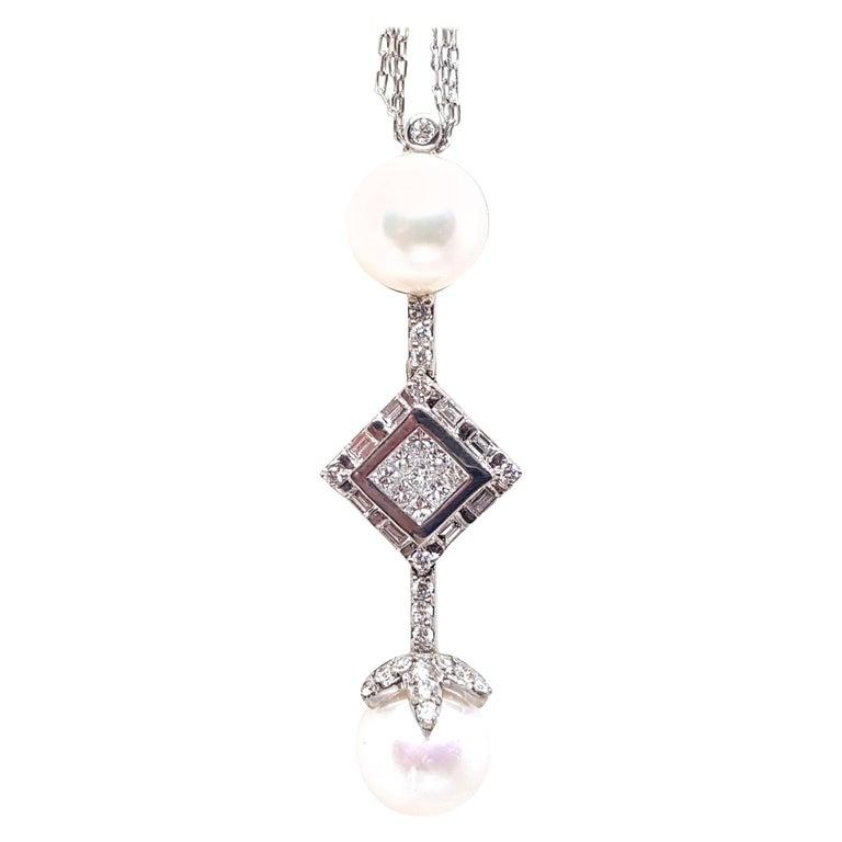 2.06 Carat White Gold Necklace Princess Diamond Pearl Pendant For Sale