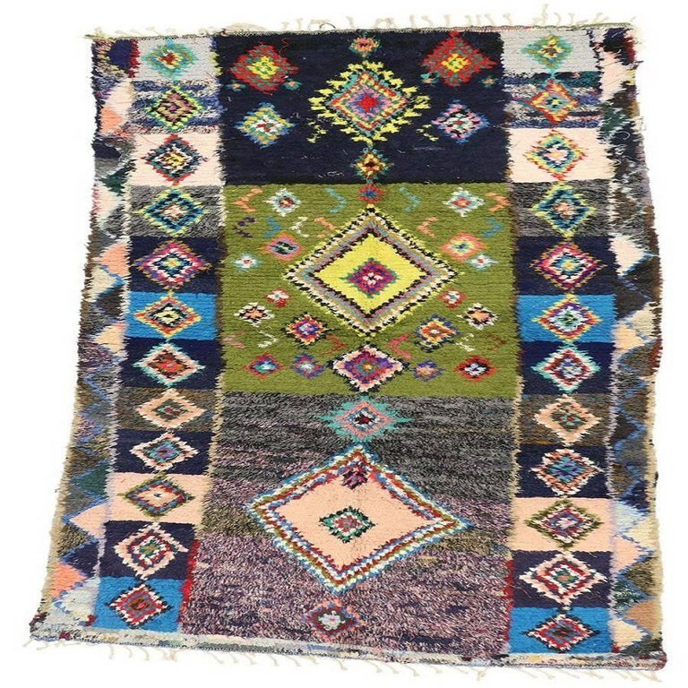 Vintage Berber Moroccan Rug with Tribal Style
