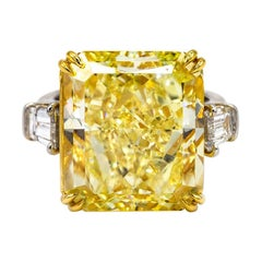 20.67 Carat Fancy Intense Yellow Internally Flawless Diamond Engagement Ring