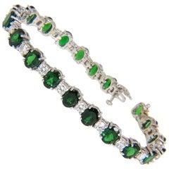20.68 Carat Natural Tsavorite Diamonds Bracelet 14 Karat Vivid Greens Tennis