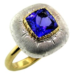 2.06ct Tanzanite and 18 Karat Gold Florentine Engraved Ring, Handmade in Italy