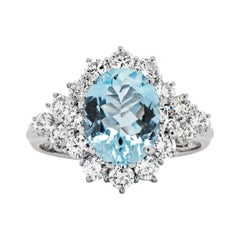 2.07 Carat Aquamarine and Diamond 18ct Gold Cluster Engagement Ring