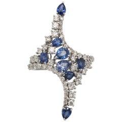 2.07 Carat Blue Sapphire and 1.53 Carat Diamonds Fashion Long White Gold Ring