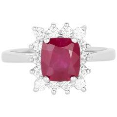 2.07 Carat Cushion Cut Ruby and Diamond Ring 14 Karat White Gold