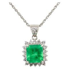 2.07 Carat Emerald with Diamond Halo Pendant Necklace Platinum in Stock