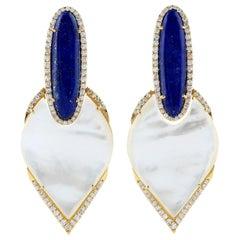20.7 Carat Lapis Mother of Pearl Diamond 18 Karat Gold Earrings