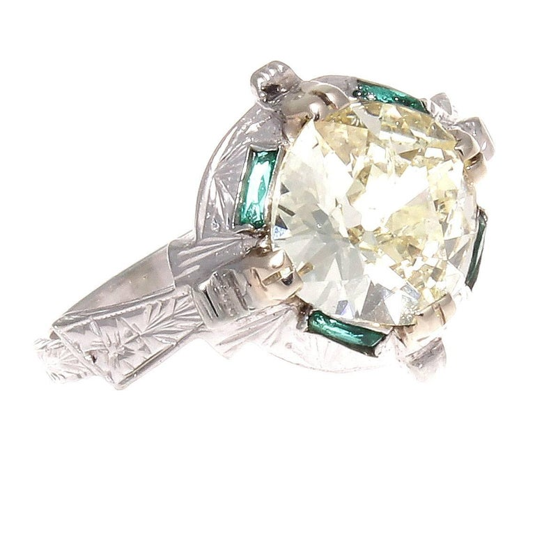 2.07 Carat Old Mine Cut Diamond Emerald Gold Engagement Ring
