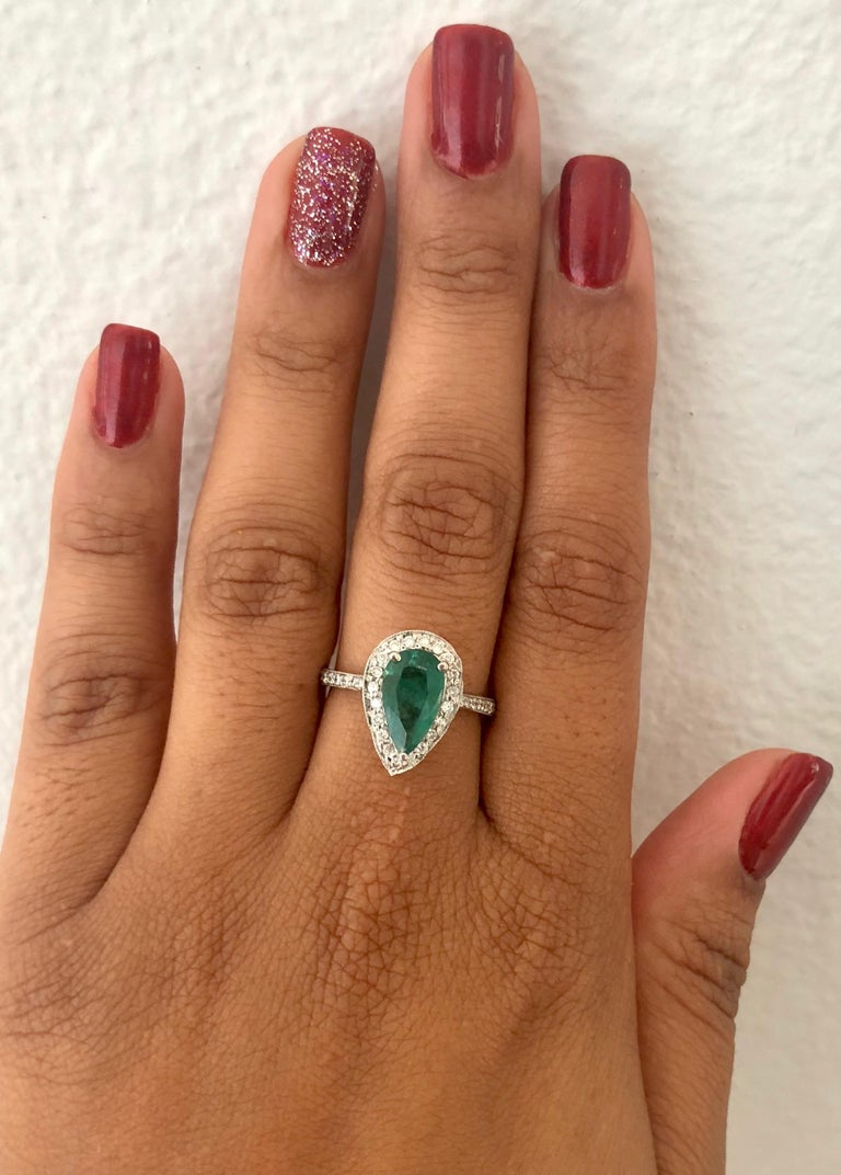 2.07 Carat Emerald Diamond Halo Gold Ring In New Condition For Sale In San Dimas, CA