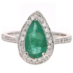 2.07 Carat Pear Cut Emerald Diamond Halo Engagement Ring