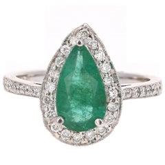 2.07 Carat Pear Cut Emerald Diamond Halo 14 Karat Gold Ring