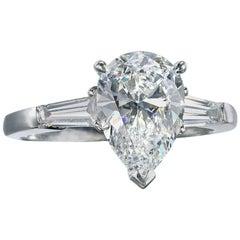 2.07 Carat Pear Shape G VVS2 Diamond Platinum Ring GIA