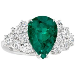 2.07 Carat Pear Shaped Colombian Emerald Cocktail Ring
