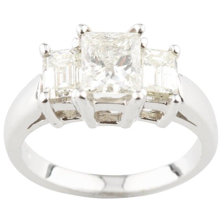 2 07 Carat Princess Cut Diamond 18 Karat White Gold 3-Stone Engagement Ring