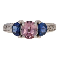 2.07 Carat Round Cut Sapphire and Diamond Ring, 18 Karat Gold Etched Pink & Blue