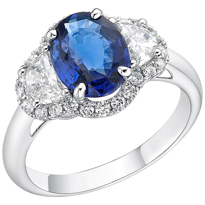 2.07 Carat Blue Sapphire GRS Certified Unheated Ceylon Diamond Ring Oval Cut
