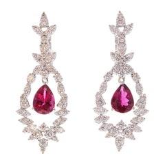 2.07 Carat Total Pear Shape Rubelite and Diamond Earring in 18 Karat White Gold