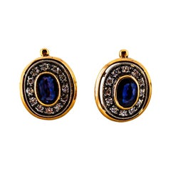 2.07 Carat White Diamond Blue Sapphire Yellow Gold Lever-Back Dangle Earrings