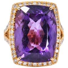 20.70 Carat 18 Karat Rose Gold Amethyst Diamond Statement Cocktail Ring