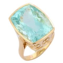 20.70 Carat Aquamarine Ring 18 Karat Yellow Gold