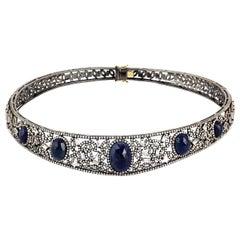 20.75 Carat Blue Sapphire Diamond Choker Necklace