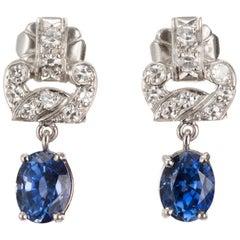 2.08 Carat Art Deco Blue Natural Sapphire Diamond Platinum Earrings